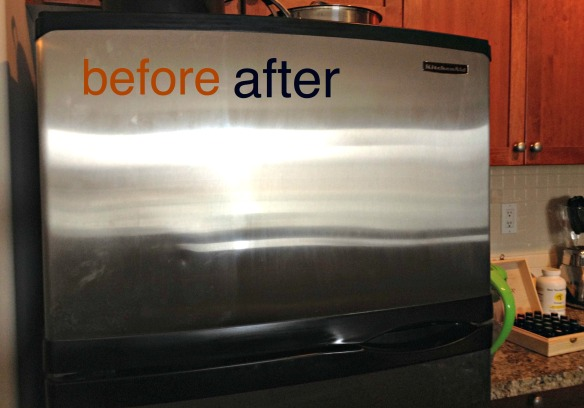 stainless steel fridge before & after